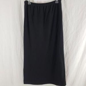 Eileen Fisher Skirt Pull On Wool Mid Length Black